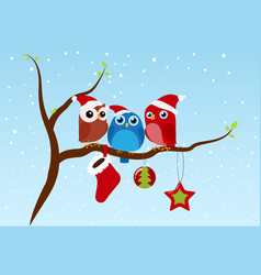 christmas greeting with birds sitting on branch vector image