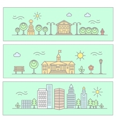 city in linear style - vector image