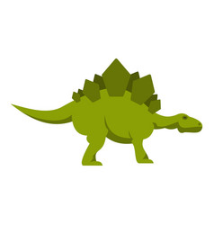 Green stegosaurus dinosaur icon isolated vector