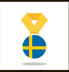 Medal with the sweden flag isolated on white vector