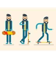 Scater Adult Man Geek Happy Hipster Character vector image vector image