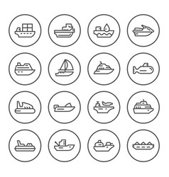 set round line icons of water transport vector image