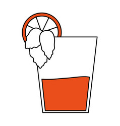 color silhouette image glass cup of cocktail with vector image vector image
