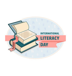International literacy day card book and ribbon vector
