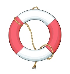 Lifebuoy and rope with dark outline vector image