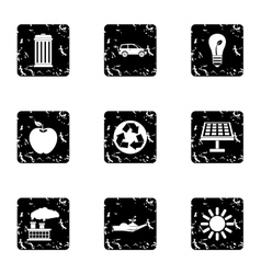 Purity of nature icons set grunge style vector image vector image