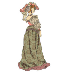 woman from nineteenth century in a dress vector image