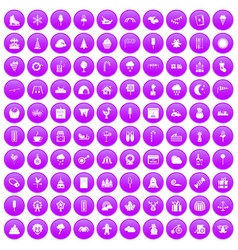 100 childrens parties icons set purple vector