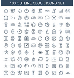 100 clock icons vector image