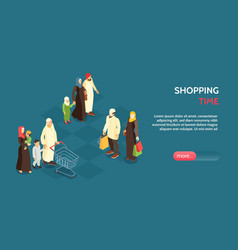 arab family horizontal banner vector image