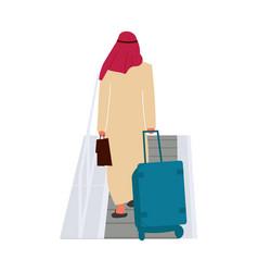 Arab man in airport passenger walks with baggage vector
