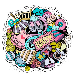 Baby cartoon doodle funny children design vector
