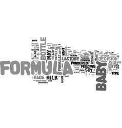 Baby formula types and benefits text word cloud vector