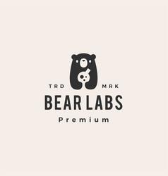 bear cub lab laboratory science hipster vintage vector image