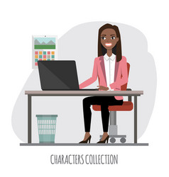 black african american businesswoman is using a vector image