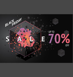 black friday sale banner with abstract 3d element vector image
