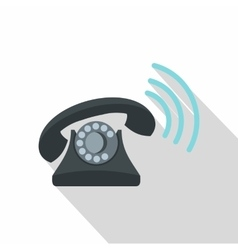 Black retro phone ringing icon flat style vector