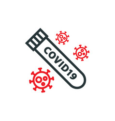 Blood test tube covid19 19 line icon vector