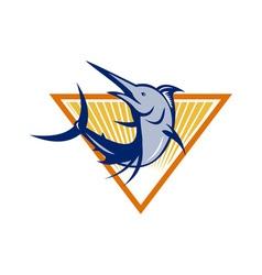 Blue Marlin Fish Jumping Retro vector image