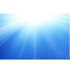 Blue sky sun flare background clear summer nature vector