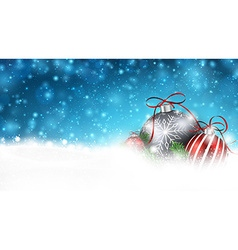 Blue winter background with christmas balls vector image