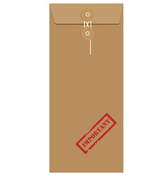 Brown long envelope with stamp important vector
