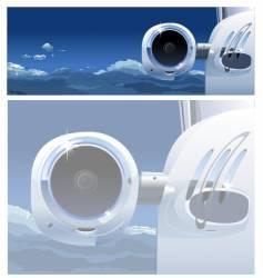 Business jet in sky vector