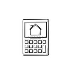 calculator with house symbol hand drawn outline vector image