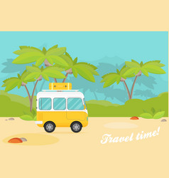 caravan trailer in jungle flat style vector image
