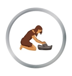Cavewoman with grindstone icon in cartoon style vector
