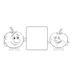 Character tomatoes and poster outline vector image
