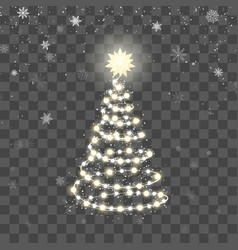 christmas shiny tree silhouette new year tree vector image