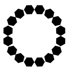 Circular pattern of black hexagons on a white vector