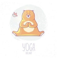 color yoga bear vector image
