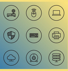 computer icons line style set with mouse notebook vector image
