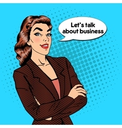 Confident Business Woman Pop Art vector