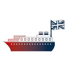 container ship boat transport english flag vector image