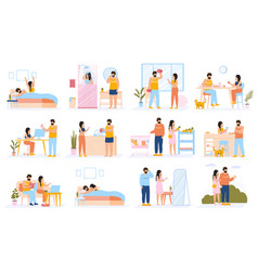 Couple everyday routine daily leisure and work vector