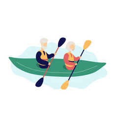 Couple modern elderly people kayaking vector