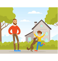 Dad and his son walking with dog on street vector