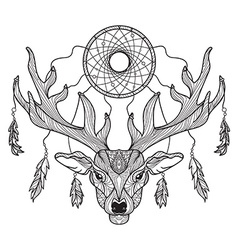Deer head with horns and dreamcatcher vector image