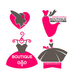 Dress boutique or fashion atelier salon vector