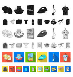 dry cleaning equipment flat icons in set vector image