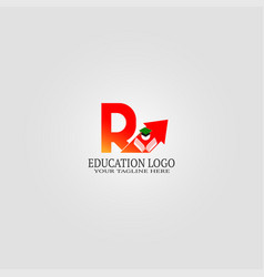 Education logo template with r letter logo vector