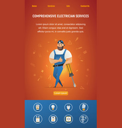 Electrical service workman leaning on screwdriver vector