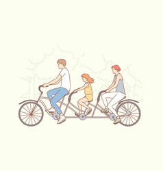 family travelling cycling sport activity vector image
