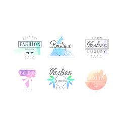 fashion luxury boutique logo design set vector image