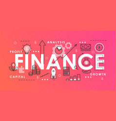 Finance word abstract thin line vector