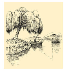 Fisherman in a boat fishing on a lake willow tree vector