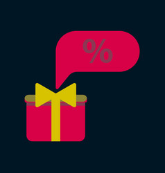 flat icon of gift box discount vector image